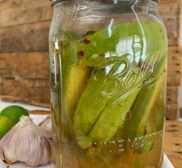 Mason jar con aguacates en vinagre