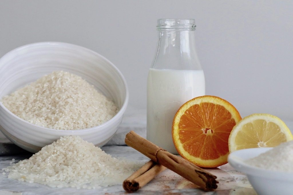 Mise en place para arroz con leche
