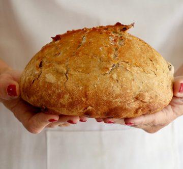 Pan de arándanos, miel y nueces en las manos